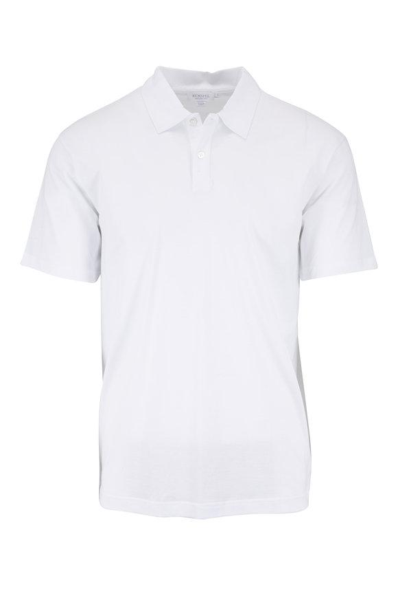 Sunspel White Cotton Short Sleeve Polo