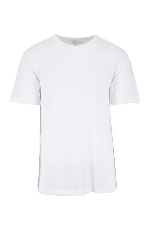 Sunspel White Cotton Piquè T-Shirt