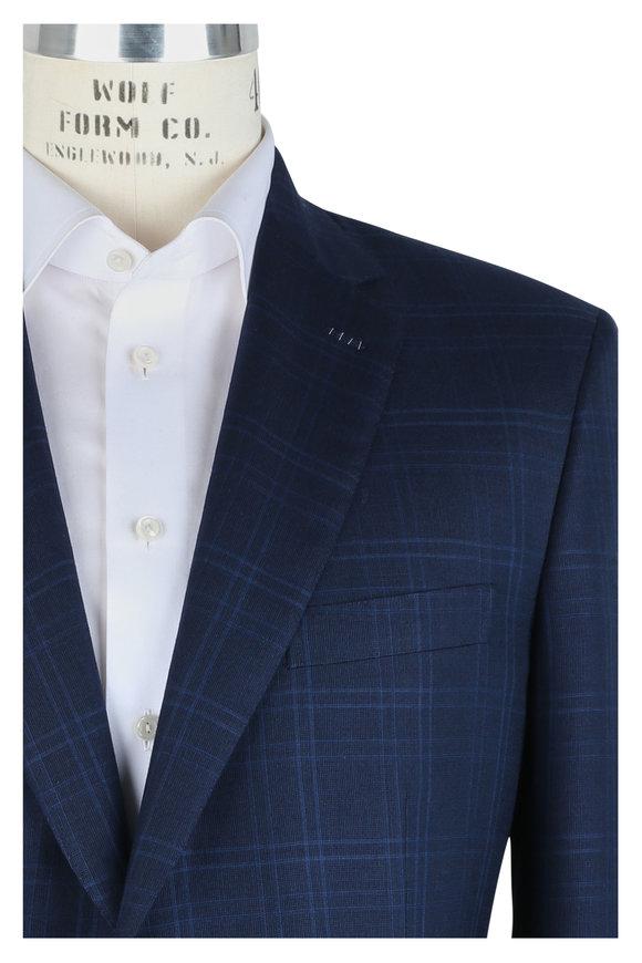 Brioni Navy Blue Tonal Plaid Silk & Cashmere Suit