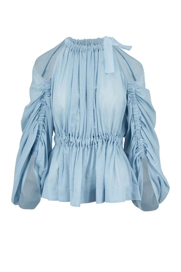 Fendi Light Blue Cold Shoulder Blouse