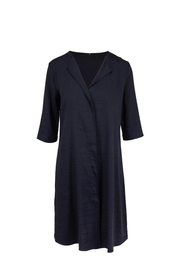 Peter Cohen Ethnic Anthracite Stretch Linen Dress