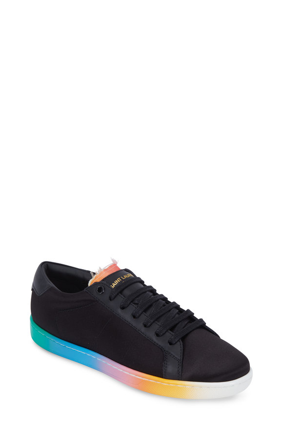 Saint Laurent Rainbow Black Satin Degrade Sole Sneaker