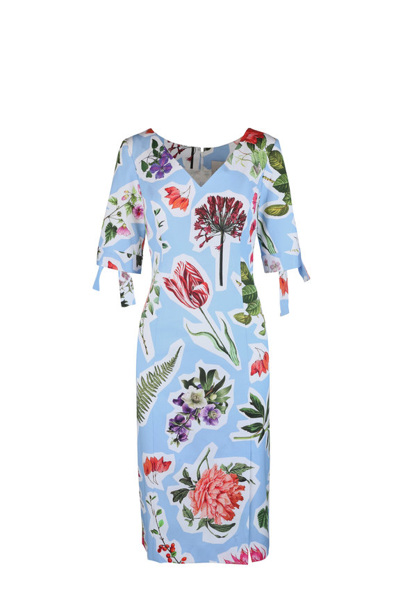 Carolina Herrera Light Blue Floral Dress