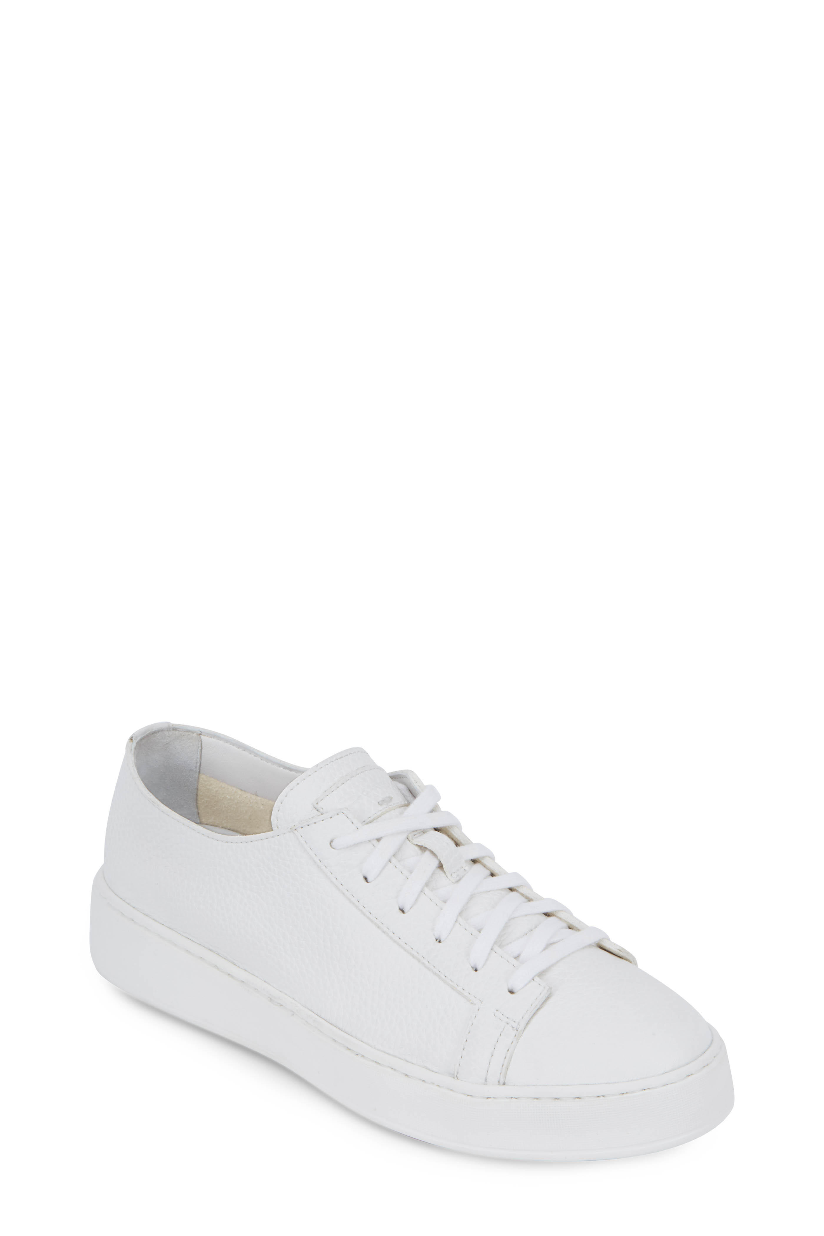 Santoni Clean Iconic White Leather Sneaker | Mitchell Stores