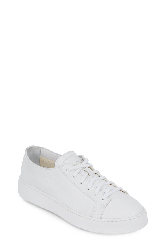 Santoni Clean Iconic White Leather Sneaker