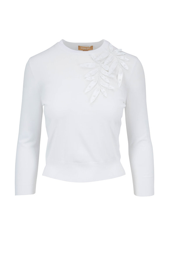 Michael Kors Collection White Corsage Starlet Appliquè Top