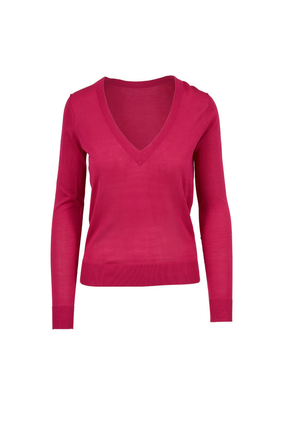 Michael Kors Collection Geranium Pink Silk V-Neck Sweater