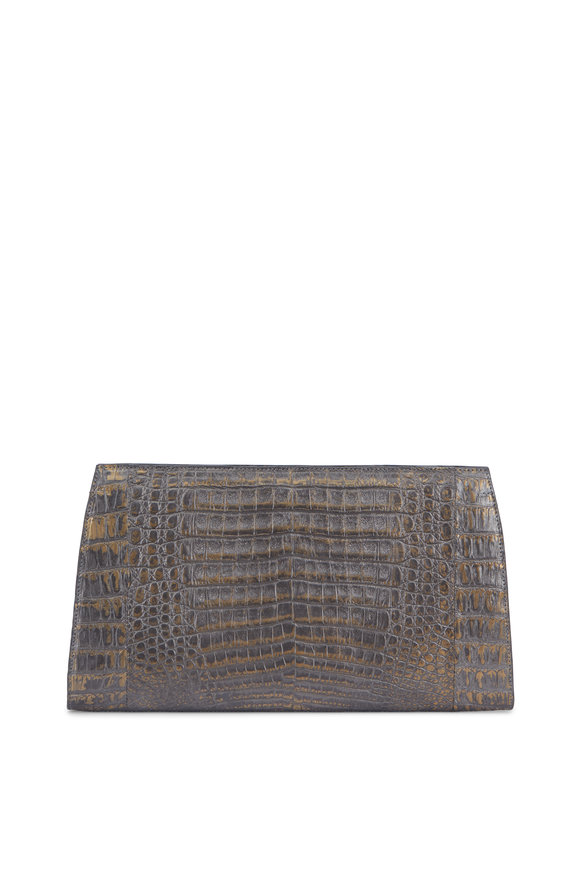 Nancy Gonzalez Bronze Crocodile Slicer Clutch