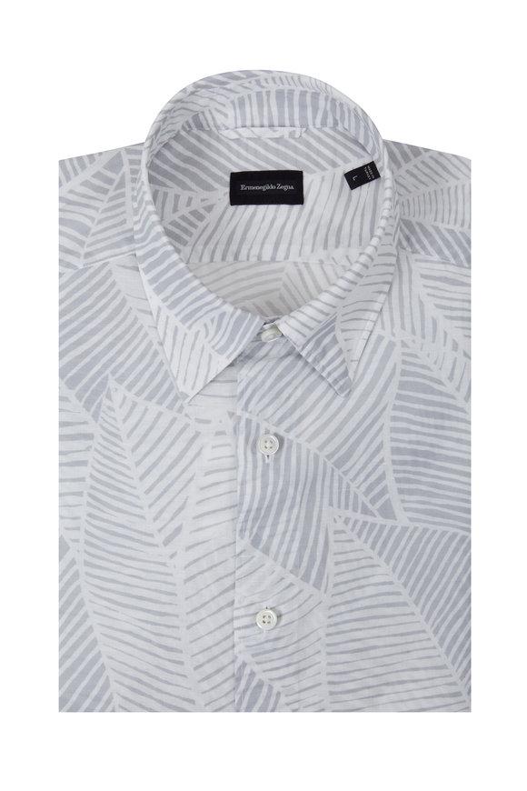 Ermenegildo Zegna Gray Palm Print Short Sleeve Sport Shirt