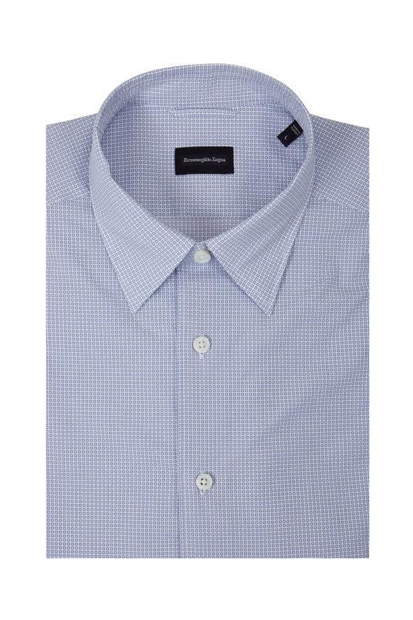 Ermenegildo Zegna Blue Short Sleeve Tailored Fit Sport Shirt