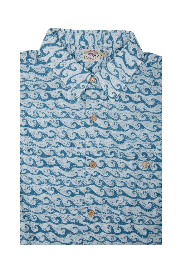 Faherty Brand Teal Wave Short Sleeve Sport Shirt