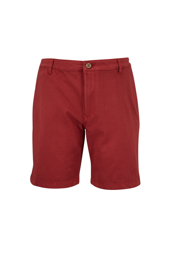 Tailor Vintage Solid Red Stretch Cotton Walking Shorts