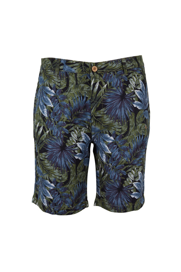 Tailor Vintage Green Leaves Print Walking Shorts