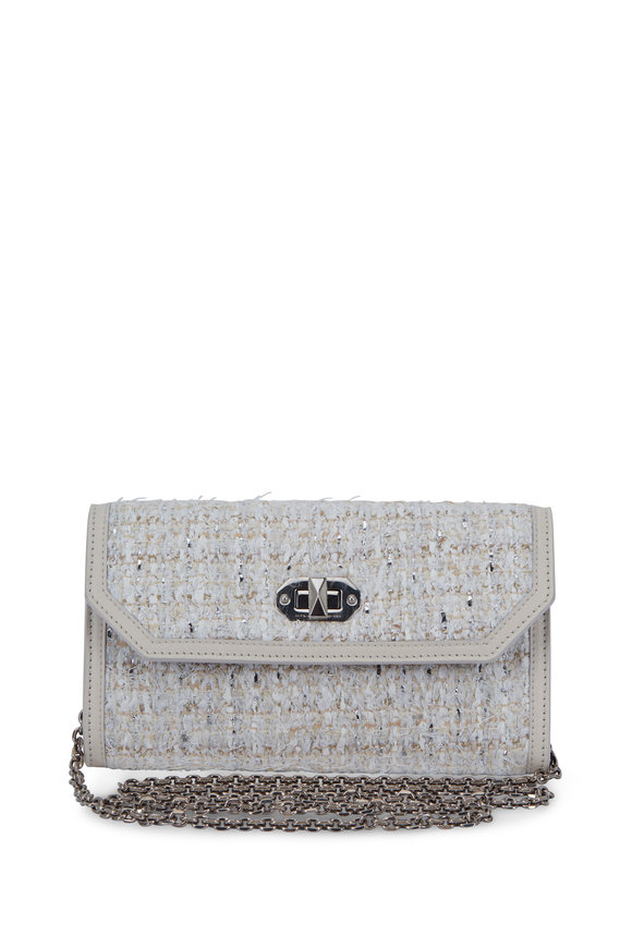 Alexander McQueen Off White Tweed Chain Wallet
