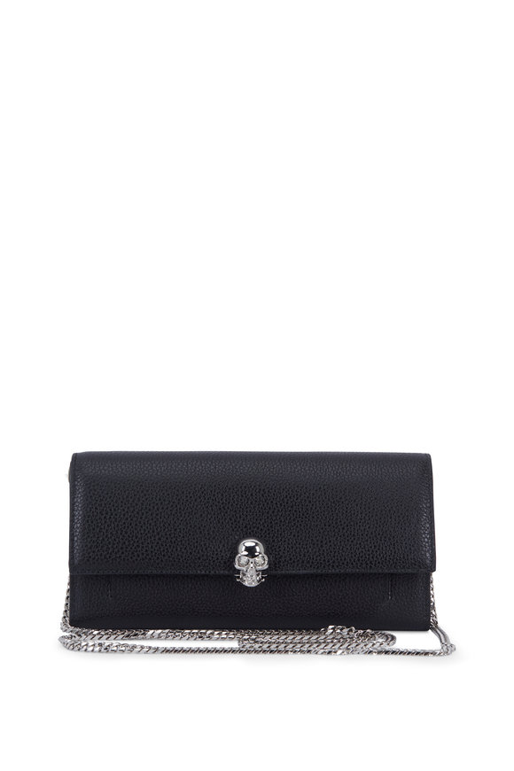 Alexander McQueen Black Grained Leather Chain Wallet