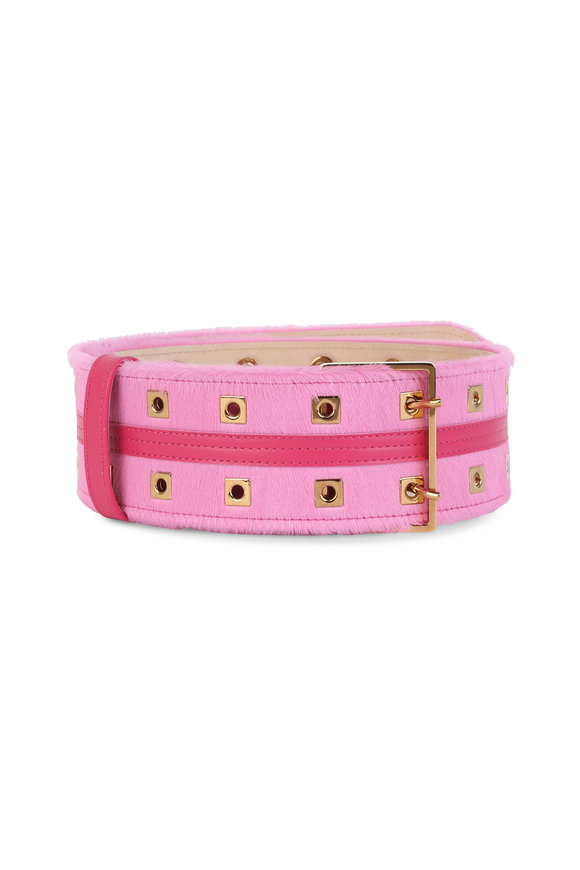 Agnona Pink Leather & Pony Belt