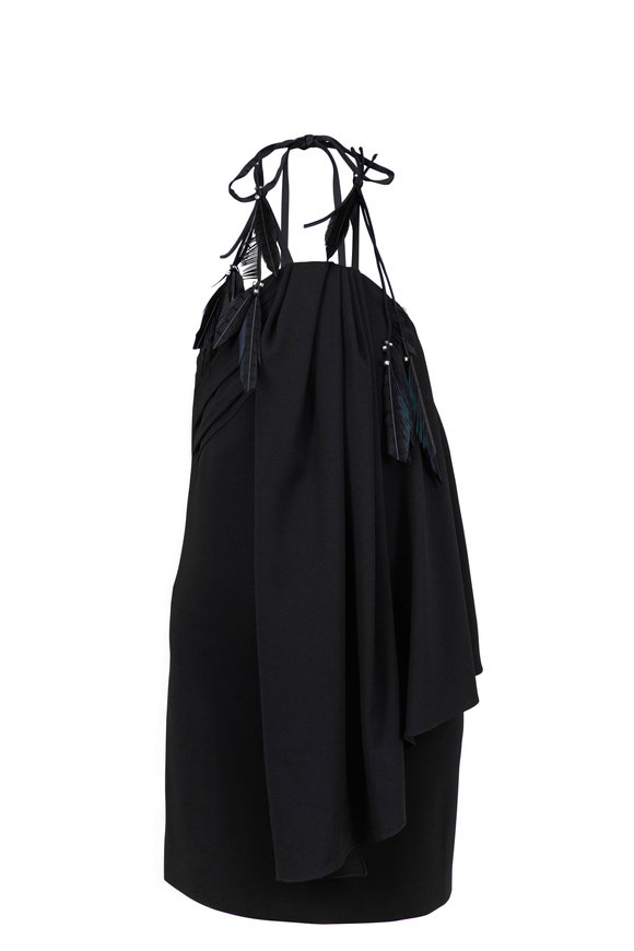 Saint Laurent Black Asymmetric Draped Halter Dress