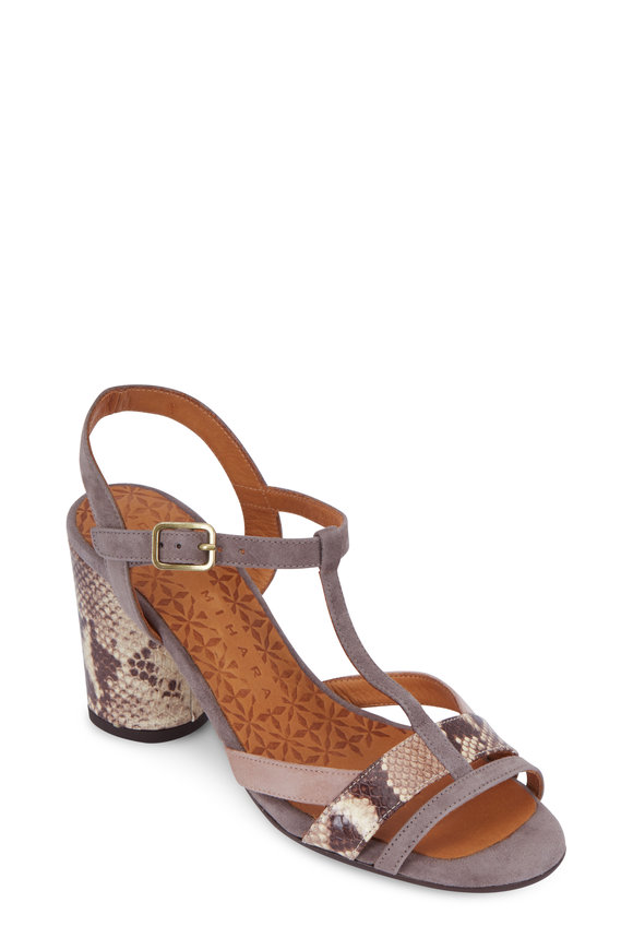 Chie Mihara Taupe Suede & Snake Embossed Leather Sandal, 70mm