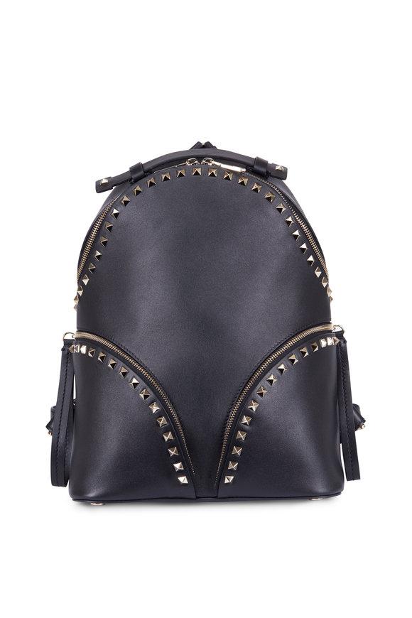 Valentino Rockstud Black Smooth Leather Backpack