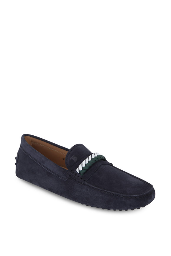 Tod's Gommini Navy Blue Suede Braided Loafer