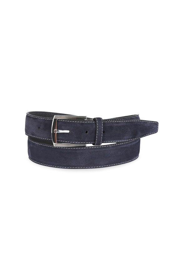 Kiton Navy Blue Suede Belt