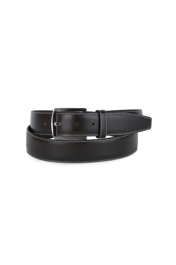 Kiton Dark Brown Pebbled Leather Belt