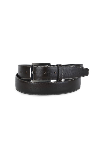 Kiton - Dark Brown Pebbled Leather Belt