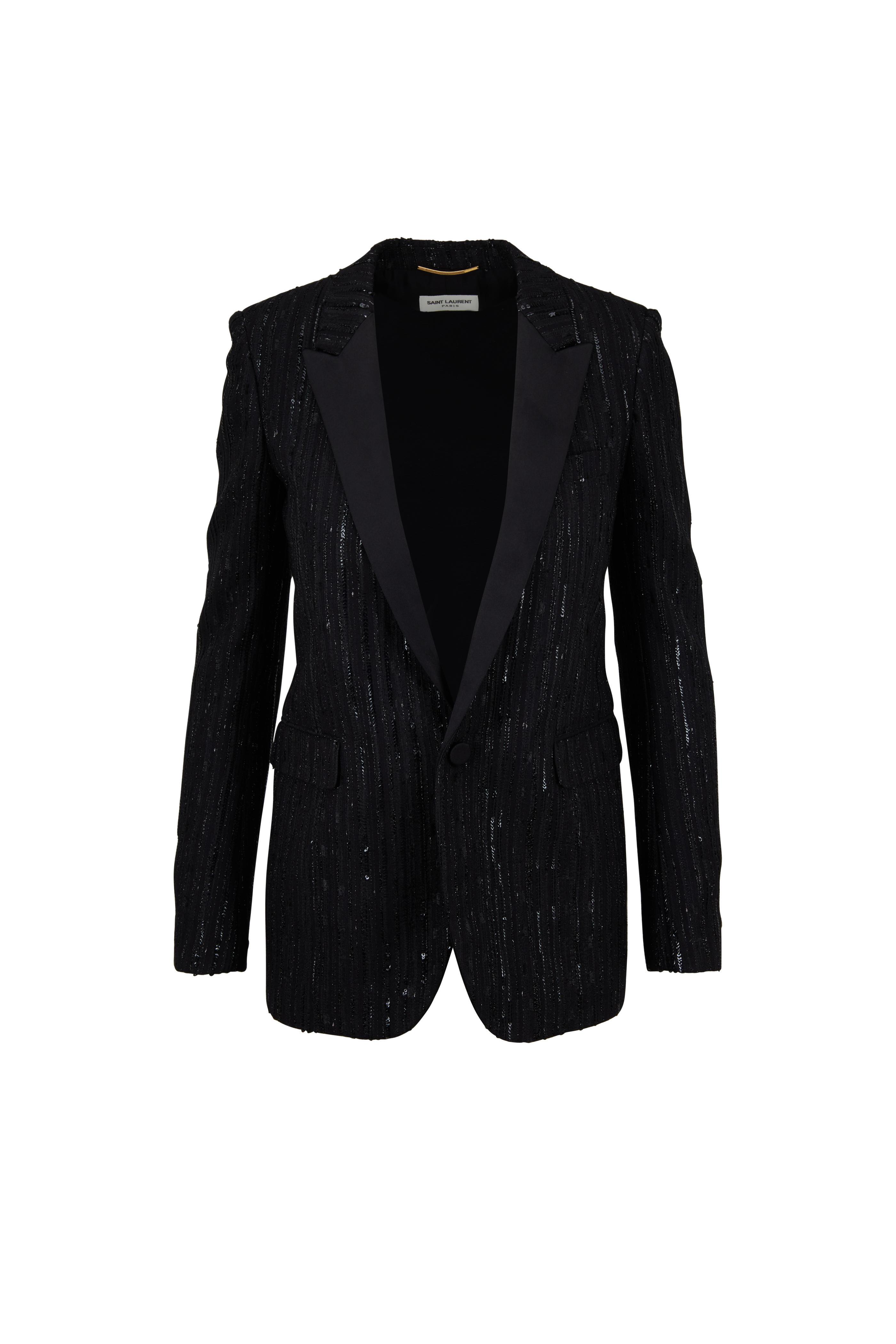 1dc496ee345 Saint Laurent - Black Sequin Stripe Jacket | Mitchell Stores