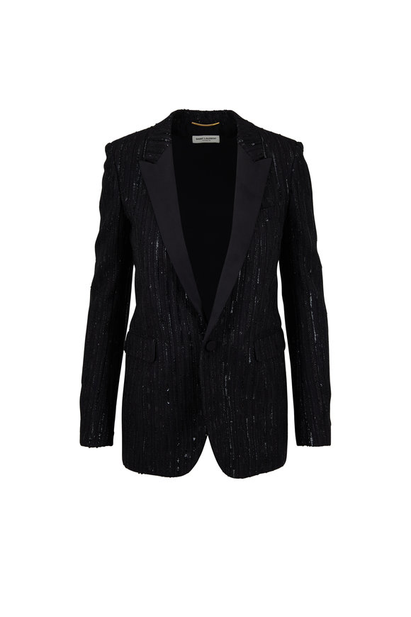 Saint Laurent Black Sequin Stripe Jacket