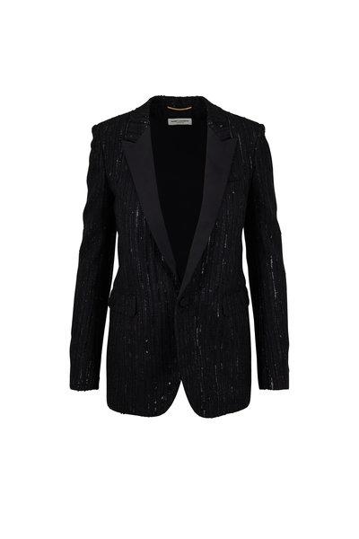 Saint Laurent - Black Sequin Stripe Jacket
