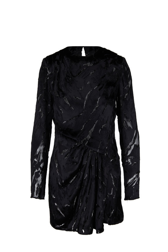 Saint Laurent Black Metallic Animal Print Mini Dress