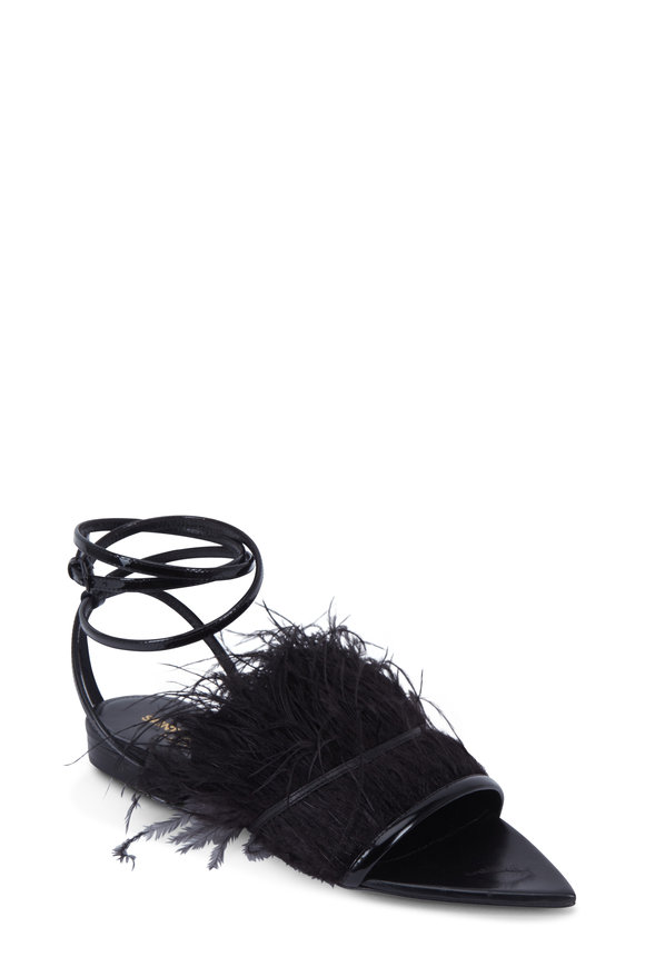 Saint Laurent ERA 05 Plumes Black Ostrich Feather Flat Sandal