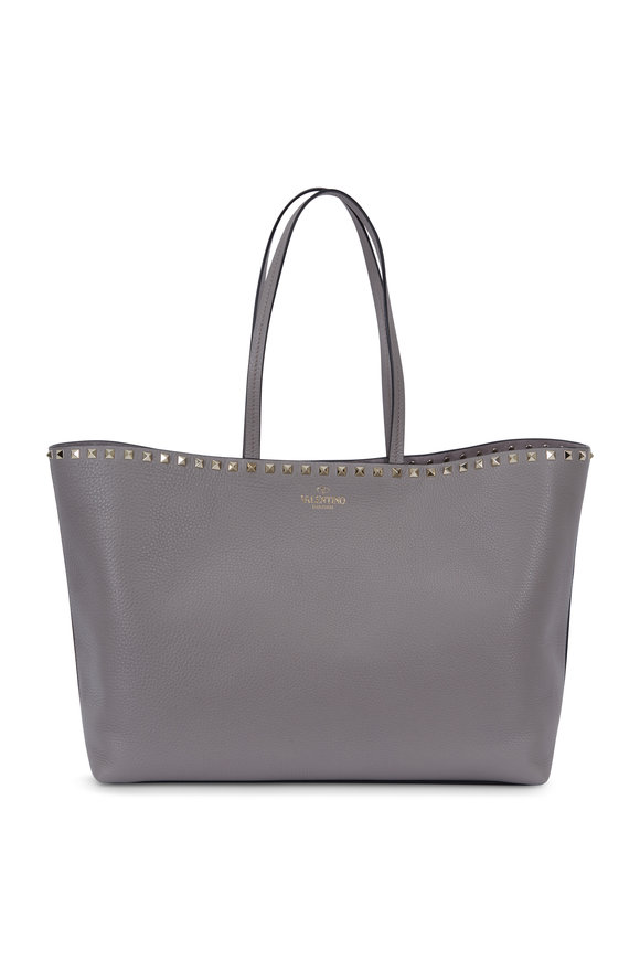 Valentino Rockstud Gray Grained Leather Large Tote