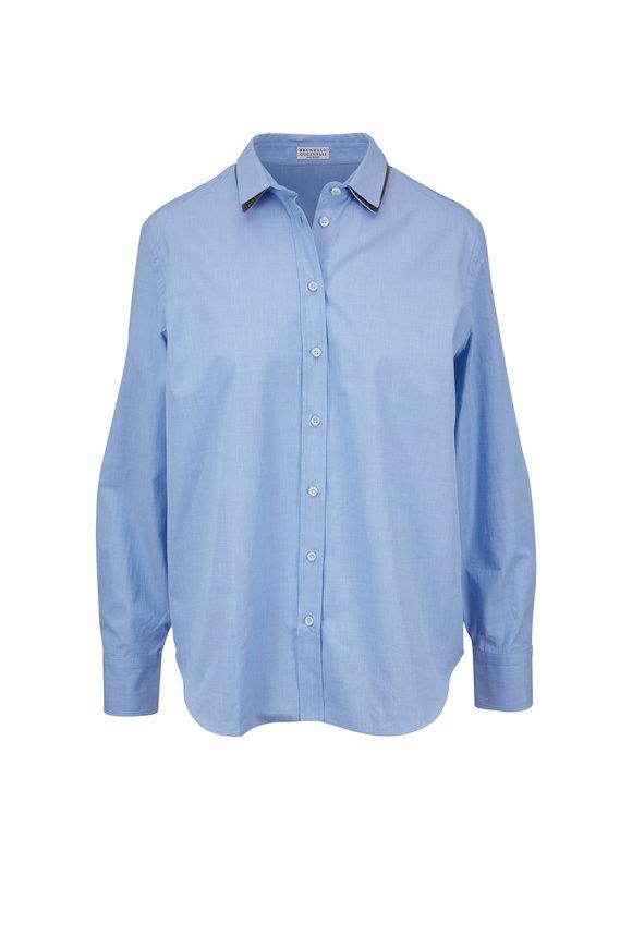 Brunello Cucinelli Light Blue Cotton Chambray Blouse