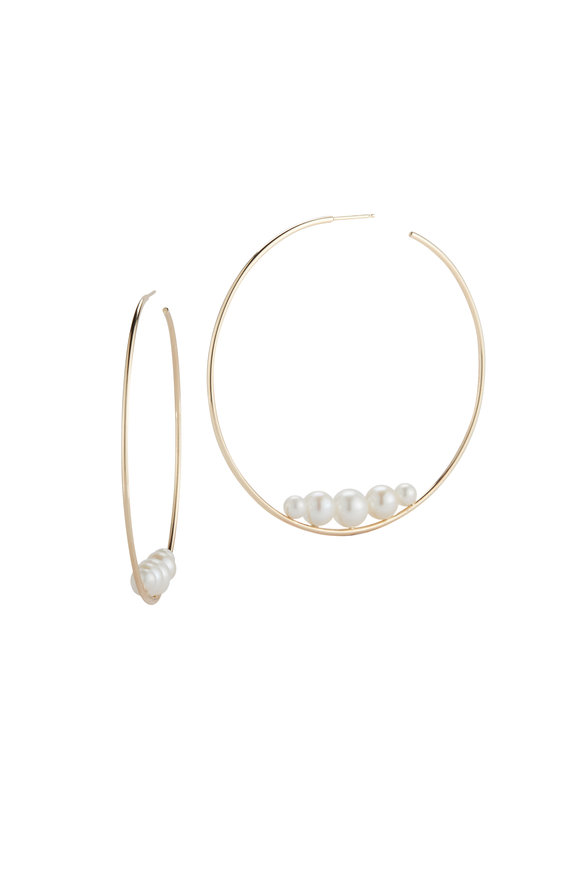 Mizuki 14K Gold Large Pearl Hoop Earrings