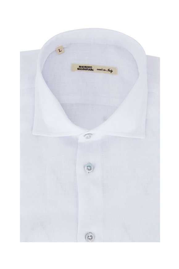 Maurizio Baldassari White Linen Sport Shirt