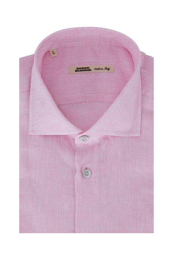 Maurizio Baldassari Pink Linen Sport Shirt