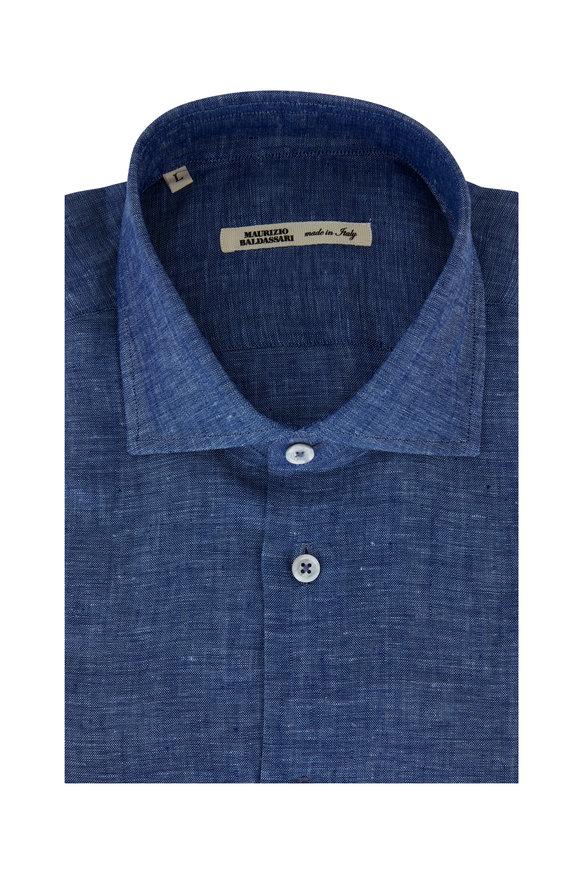 Maurizio Baldassari Indigo Blue Linen Sport Shirt