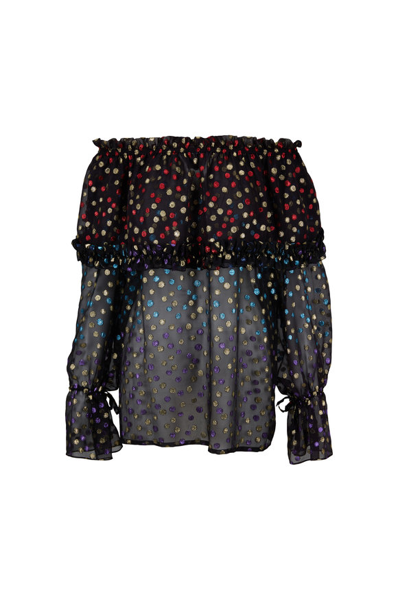 Saint Laurent Black Metallic Dot Off-The-Shoulder Blouse