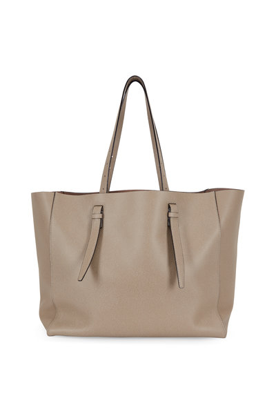 Valextra - Oyster Grained Leather Soft Large Media Tote