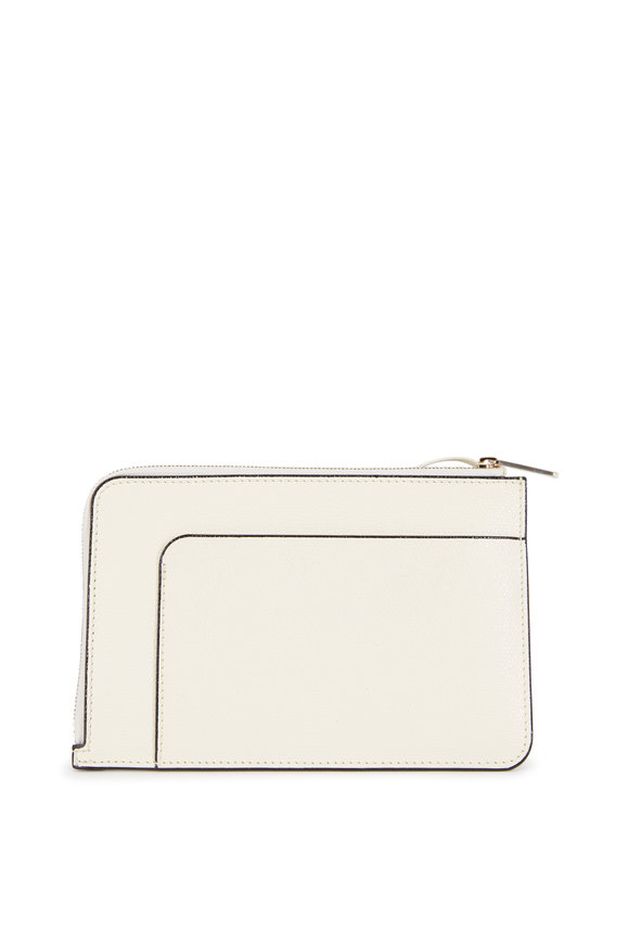Valextra Cream Saffiano Leather Zip Crossbody