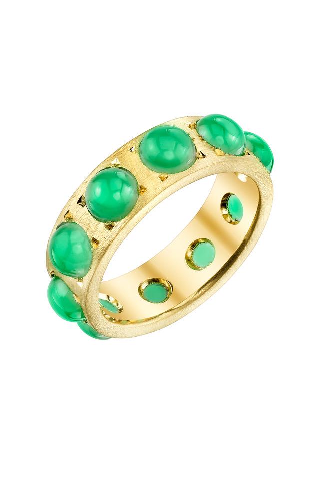 Yellow Gold Green Chrysoprase Ring