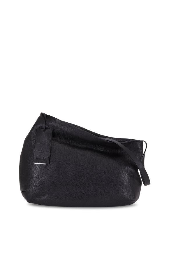 Marsell Black Leather Asymmetrical Large Shoulder Bag