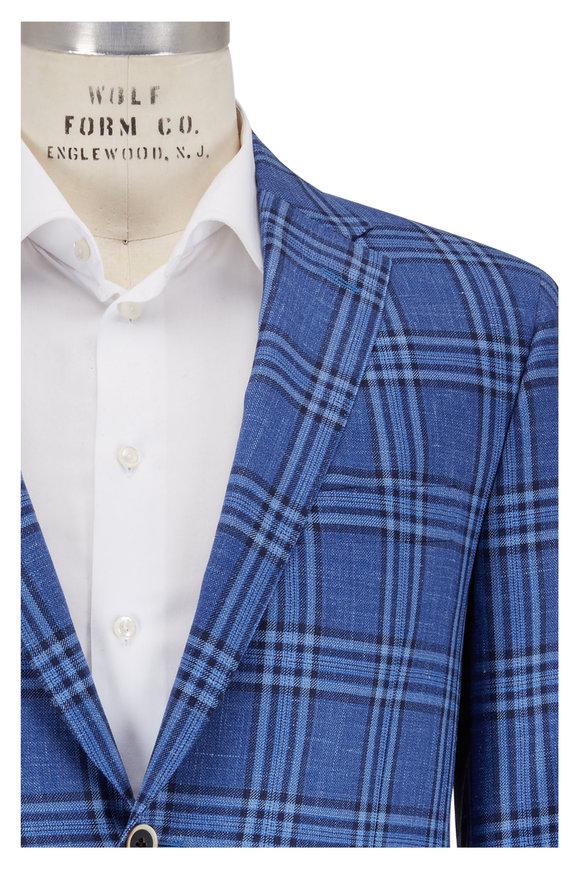 Hickey Freeman Blue Wool, Silk & Linen Plaid Sportcoat
