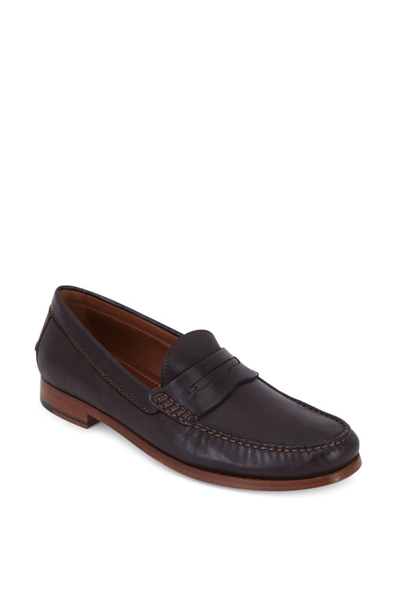 Trask Sadler Dark Brown Sheepskin Penny Loafer
