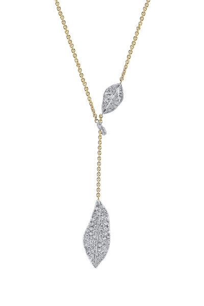 Aaron Henry - Yellow & White Gold Diamond Leaf Lariat Necklace
