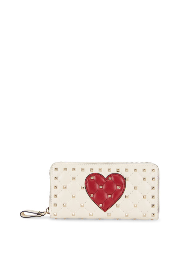 Valentino Rockstud Ivory & Red Heart Quilted Leather Wallet