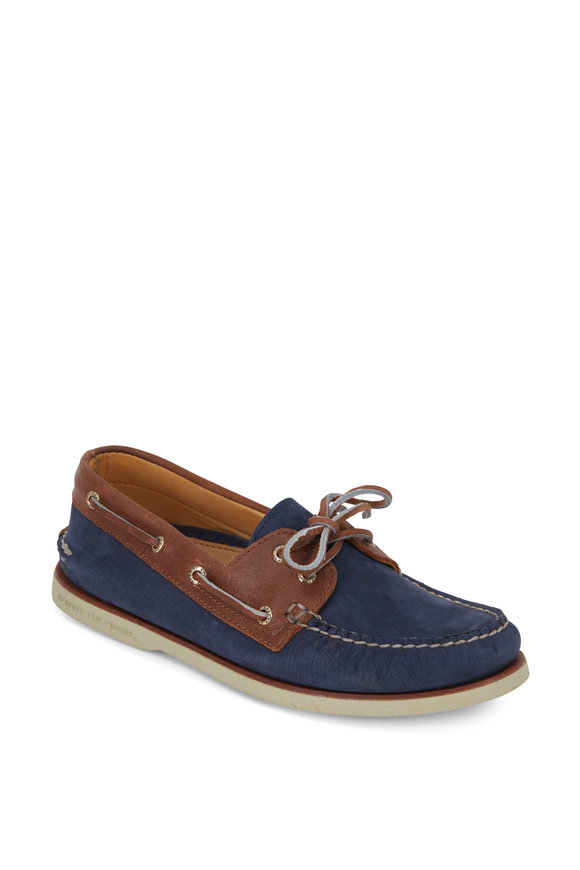 Sperry Gold A/O Two Eyelet Navy & Tan Suede Boat Shoe