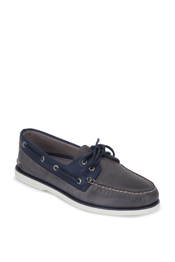 Sperry Gold A/O Two Eyelet Gray & Navy Boat Shoe