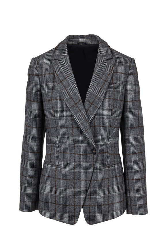 Brunello Cucinelli Gray & Brown Wool Plaid Jacket